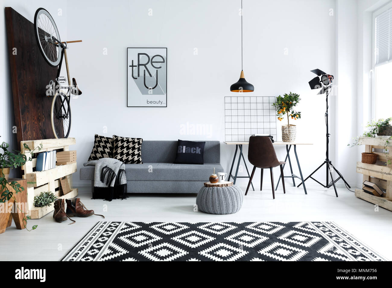 Hipster Style White Living Room With Sofa Pouf Carpet Bike Stock - White-living-room-style