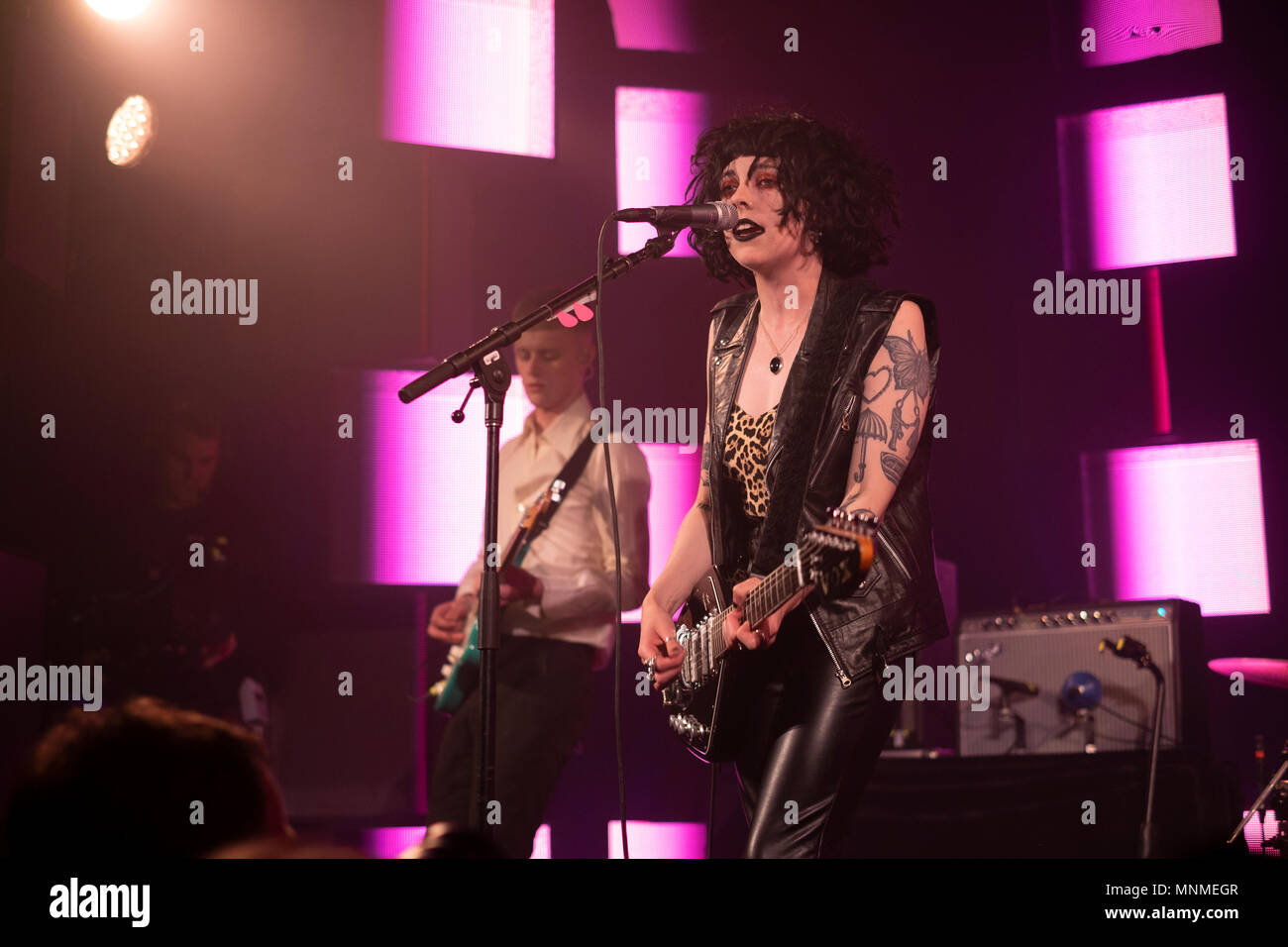 Brighton, UK. 17th May, 2018. The indie band Pale Waves play at the Wagner Hall venue on the first day of The Great Escape Festival 2018Credit: Scott Hortop Travel/Alamy Live News - Stock Image