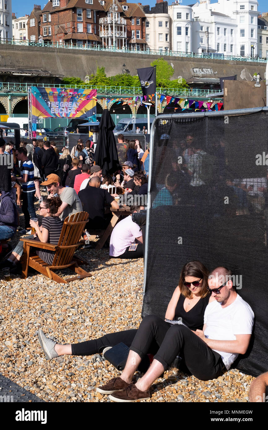 17th May, 2018. On the event's first day, The Great Escape Festival's new beach site on Madeira Drive is busy with festival goersCredit: Scott Hortop Travel/Alamy Live News - Stock Image