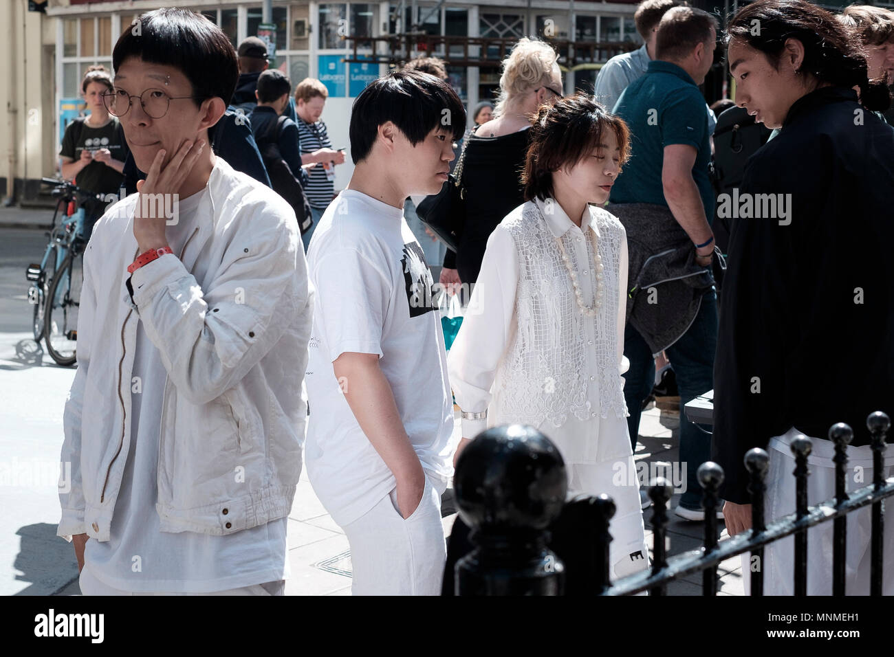 Brighton, UK. 17th May, 2018. The wait behind the scenes for the South Koreans of the band 'In The Endless Zanhyang We Are'  outside The East Street Tap venue as part of 'The Alternative Escape' on the first day of The Great Escape Festival 2018Credit: Scott Hortop Travel/Alamy Live News - Stock Image