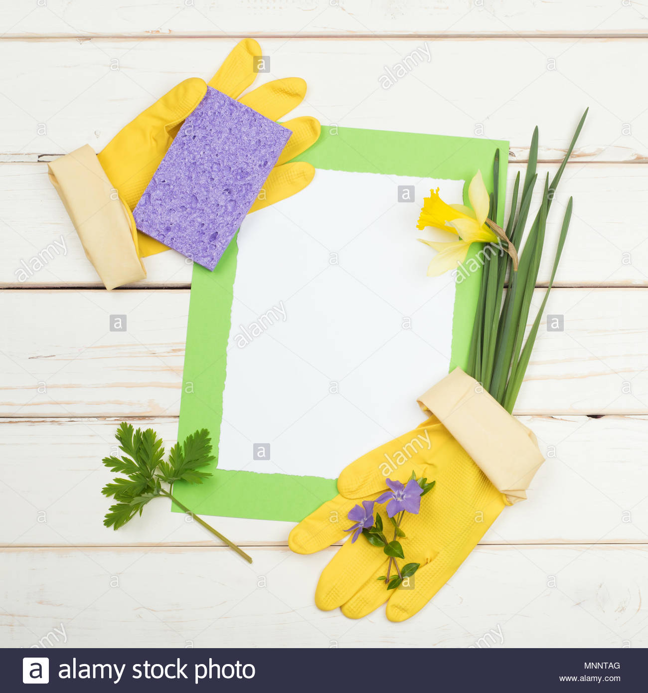 Spring Cleaning Card For List Of Chores With Flowers Sponge Yellow