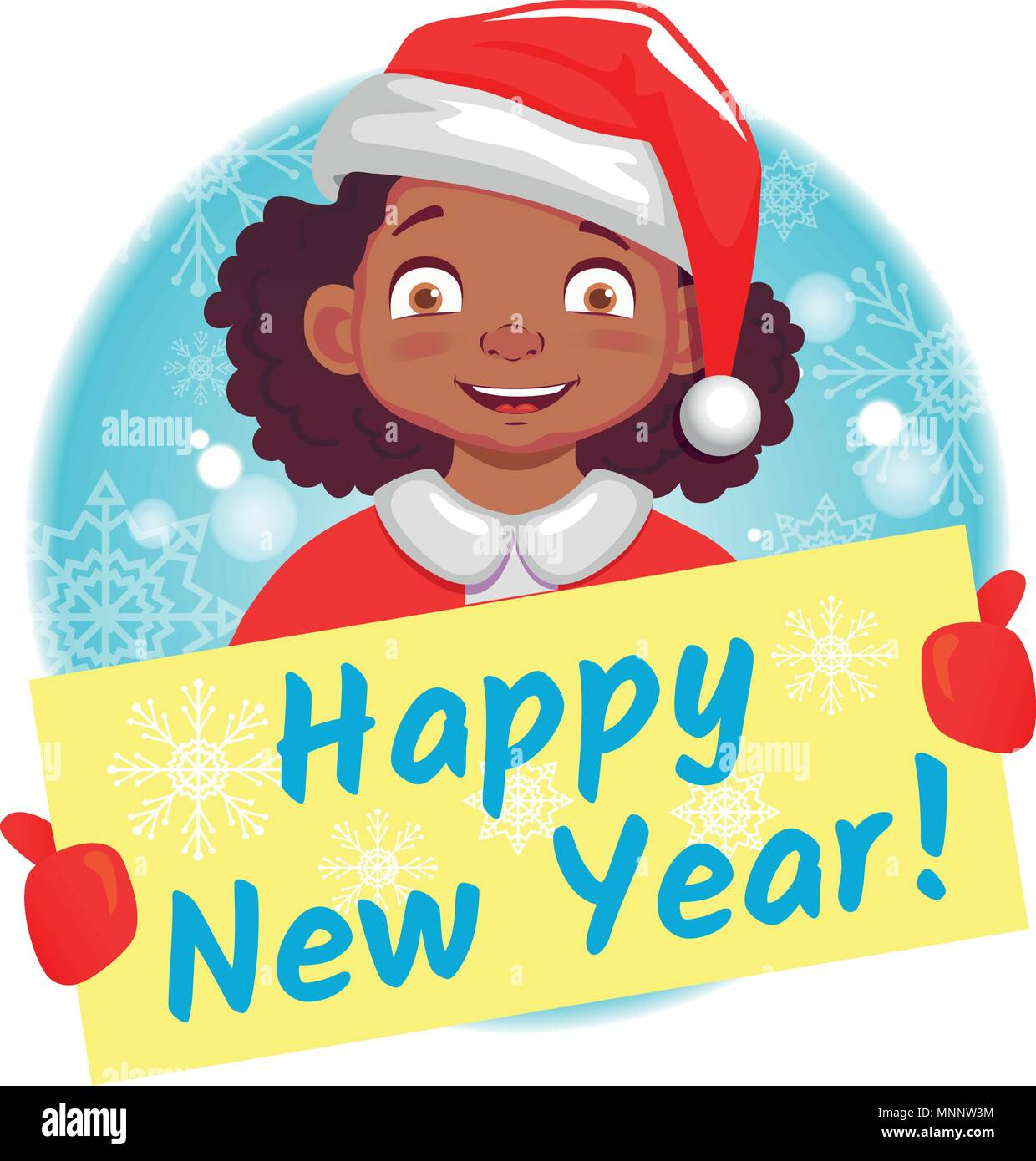 afro american girl holds christmas card happy new year