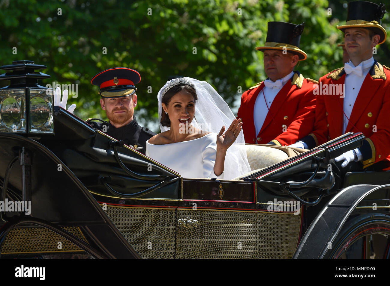 Windsor, United Kingdom. 19th May 2018. The wedding of Prince Harry and Meghan Markle at Windsor Castle in England. The groom, Prince Harry, is a member of the British royal family; the bride, Meghan Markle, is an American actress. Credit: Peter Manning/Alamy Live News - Stock Image
