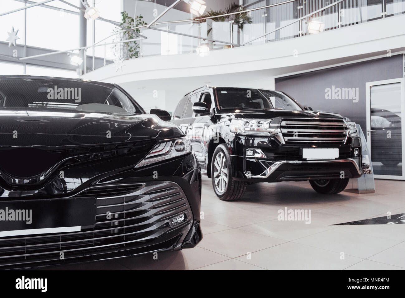 New Shining Beautiful Cars Stand Near Desk Reception In Car Shop - Carshop