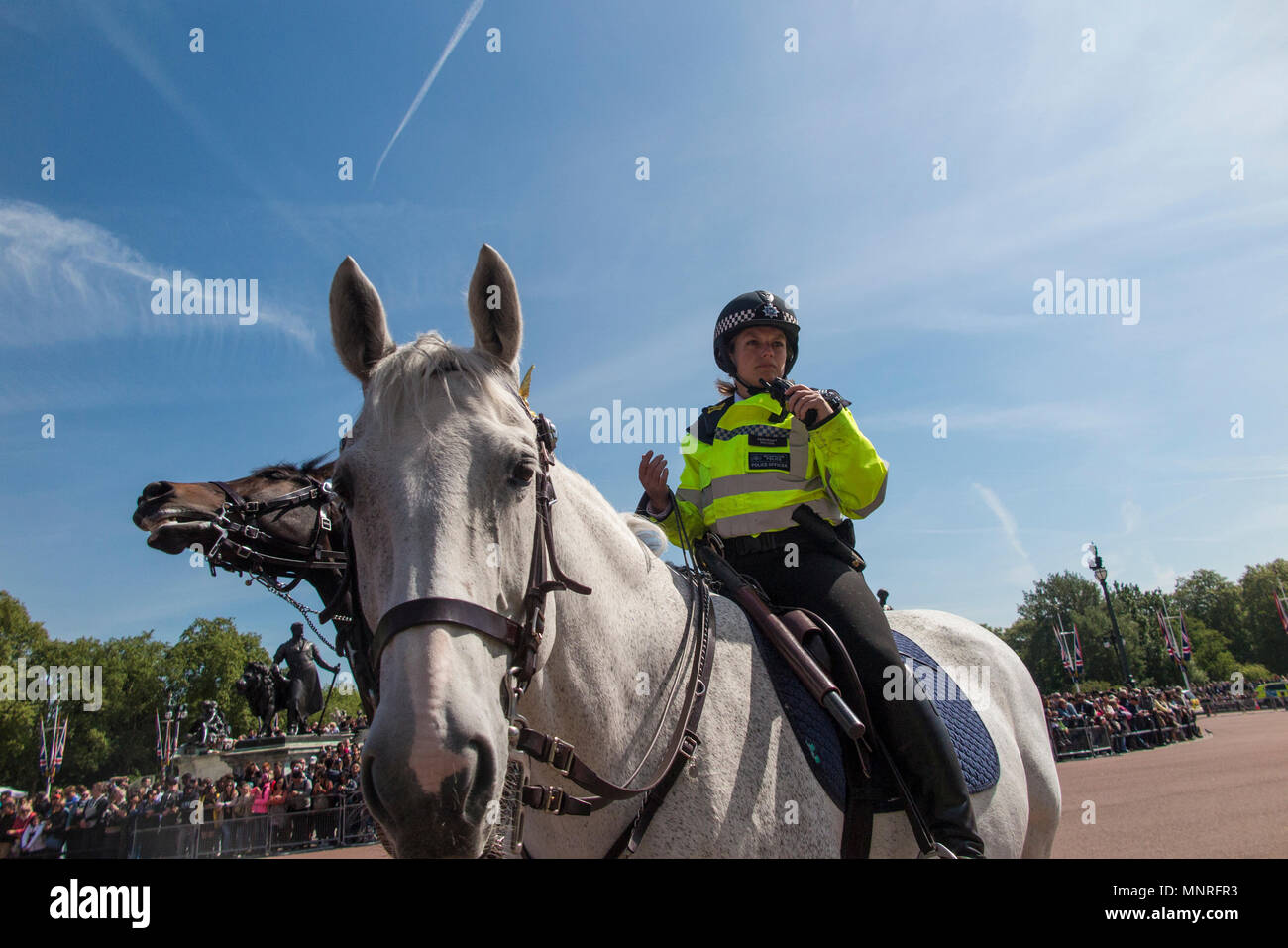 A policewoman on horseback at the changing of the guard at Buckingham Palace in London - Stock Image