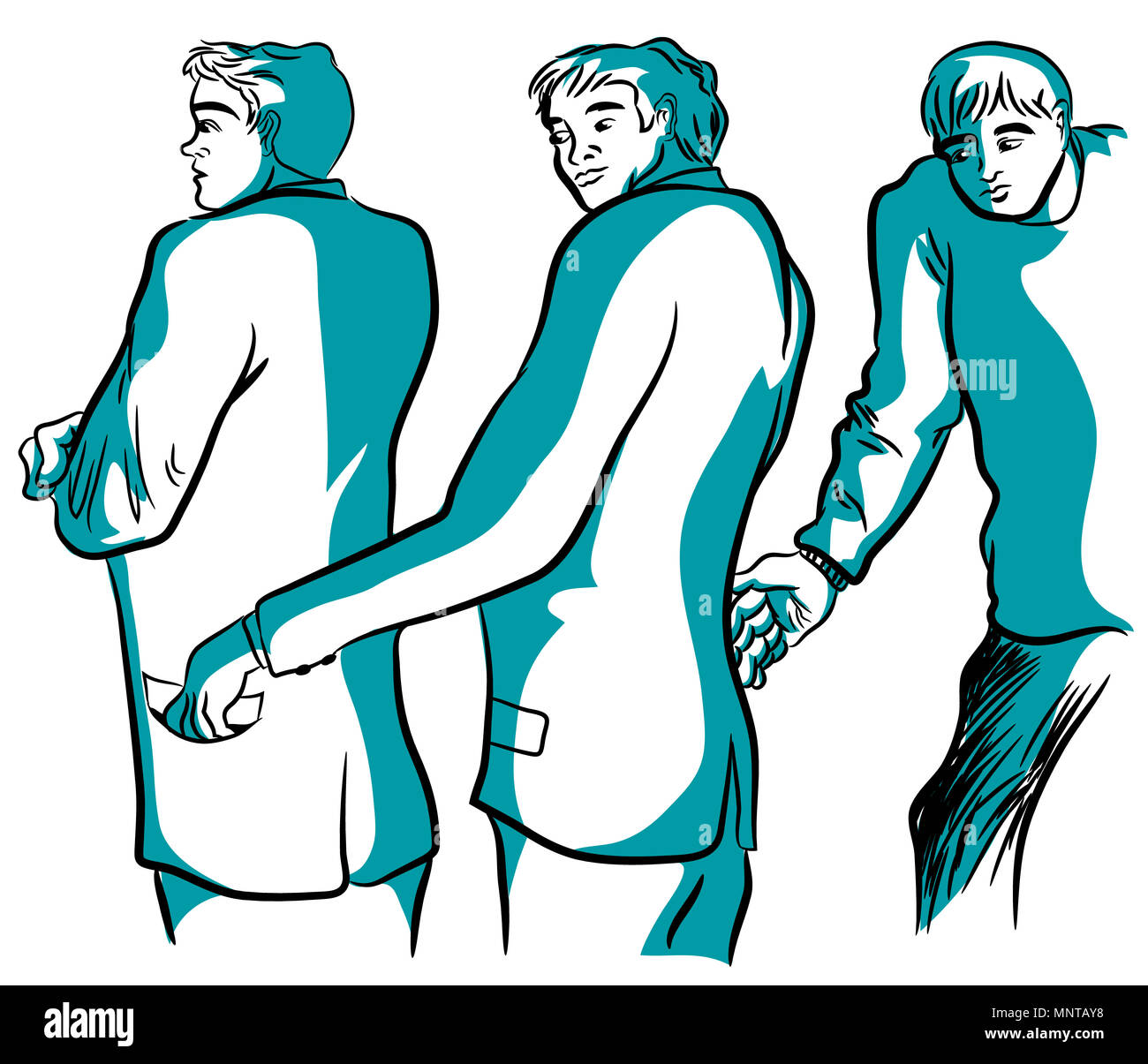 Thief and stealing.   Thieves stealing each other wallet. illustration of two thieves stealing wallet isolated white background. - Stock Image