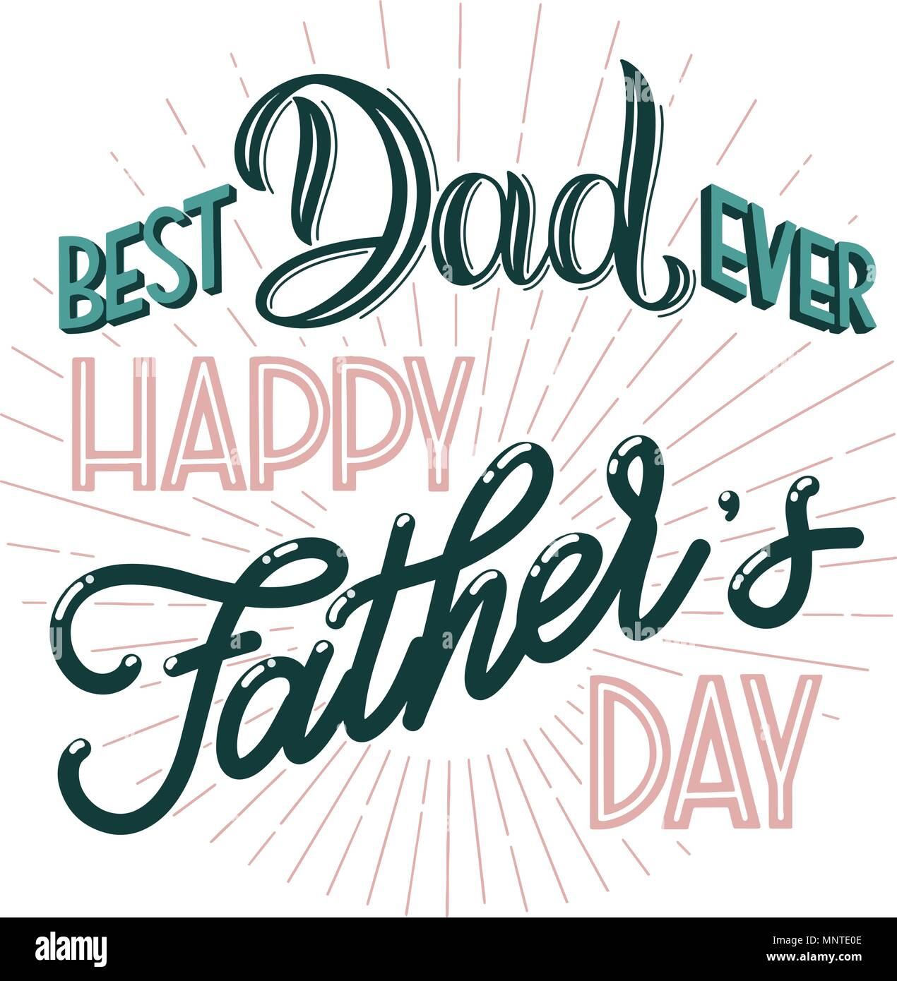 Happy Father Day Lettering Greeting Card Design Hand Drawn Text Elements For Invitations Posters Cards T Shirt