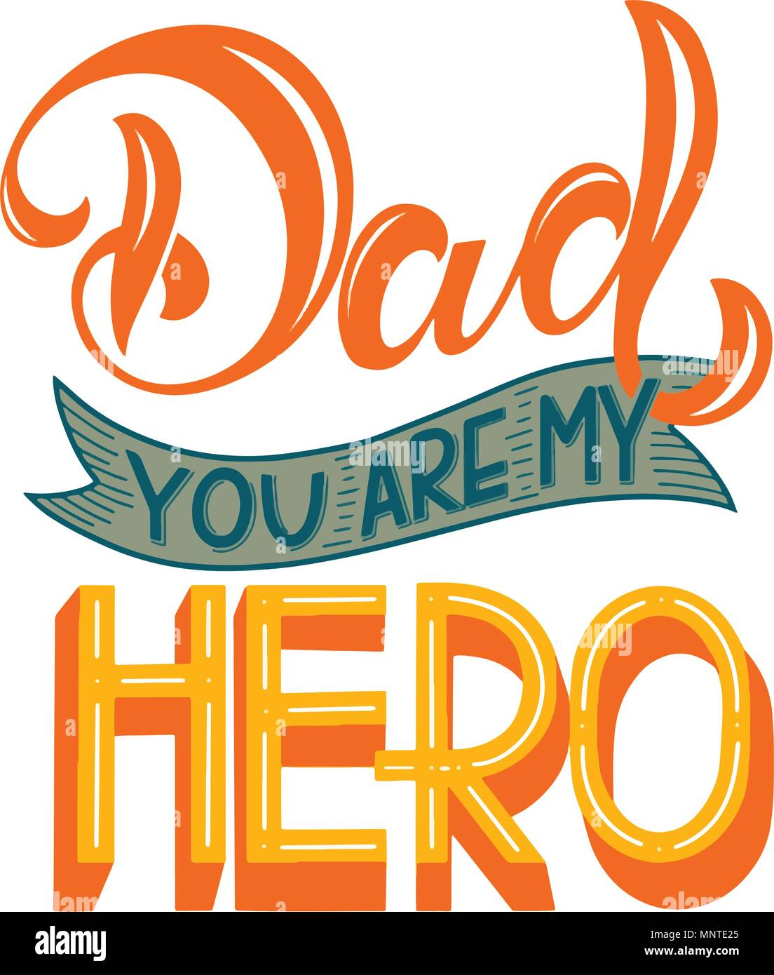 Happy Father Day Lettering Greeting Card Design Hand Drawn Text