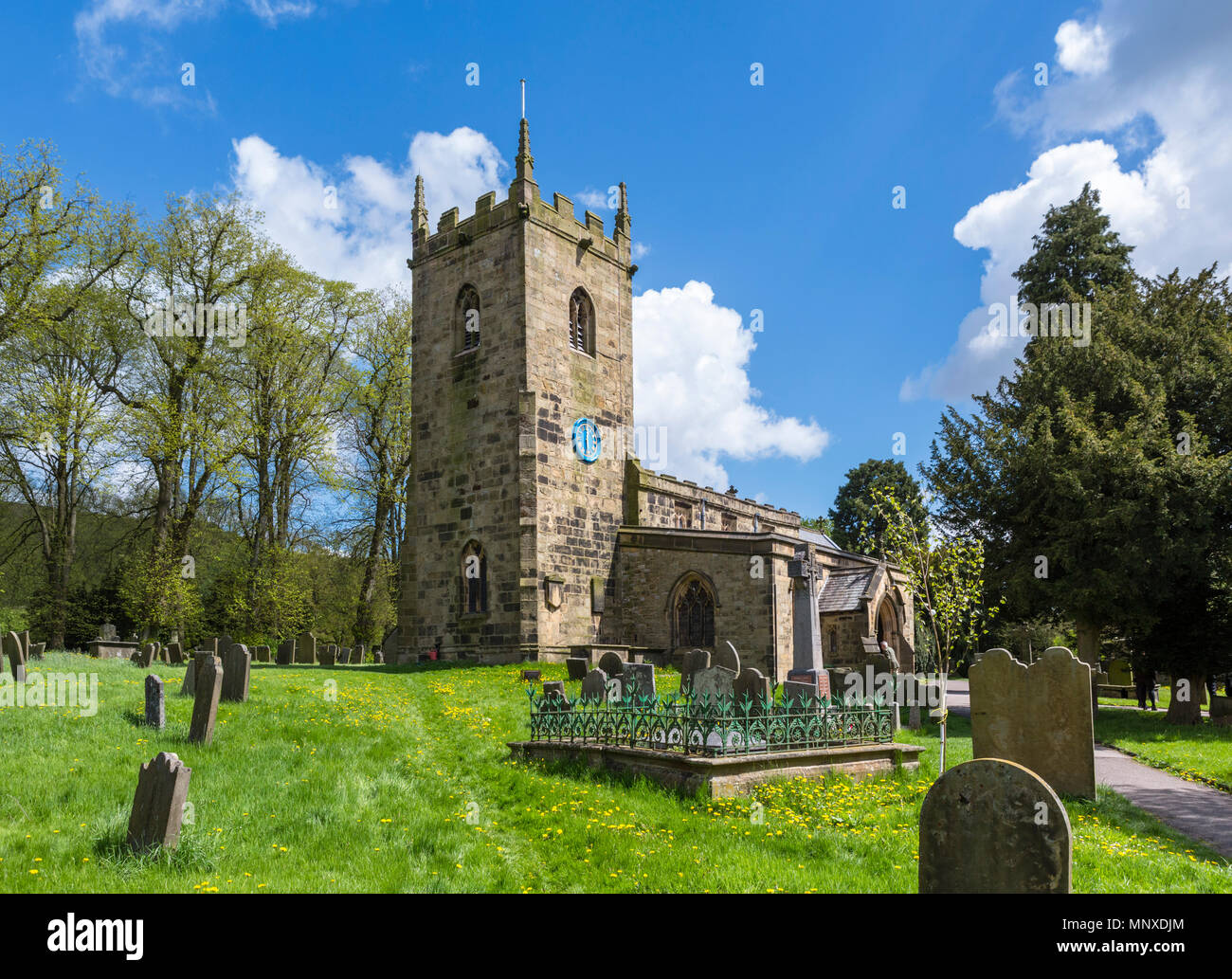 The Parish Church in Eyam, Peak District, Derbyshire, England, UK. Eyam  IS sometimes referred to as the Plague Village. - Stock Image
