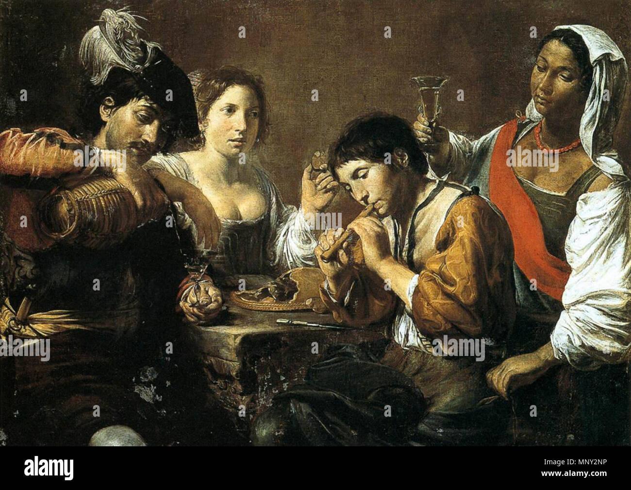 Musician and Drinkers   circa 1625.   1218 Valentin de Boulogne - Musician and Drinkers - WGA24247 - Stock Image