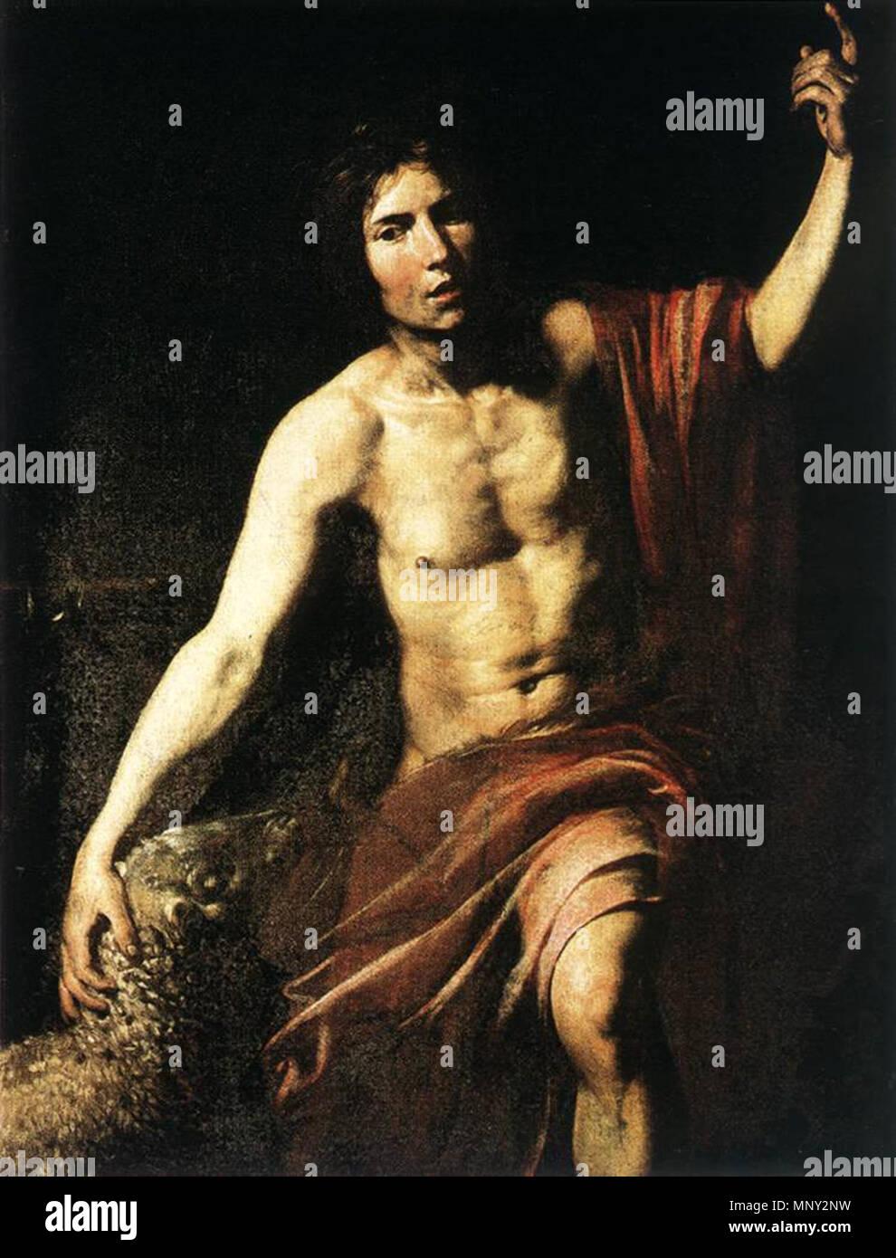 St John the Baptist   between 1628 and 1630.   1218 Valentin de Boulogne - St John the Baptist - WGA24250 - Stock Image
