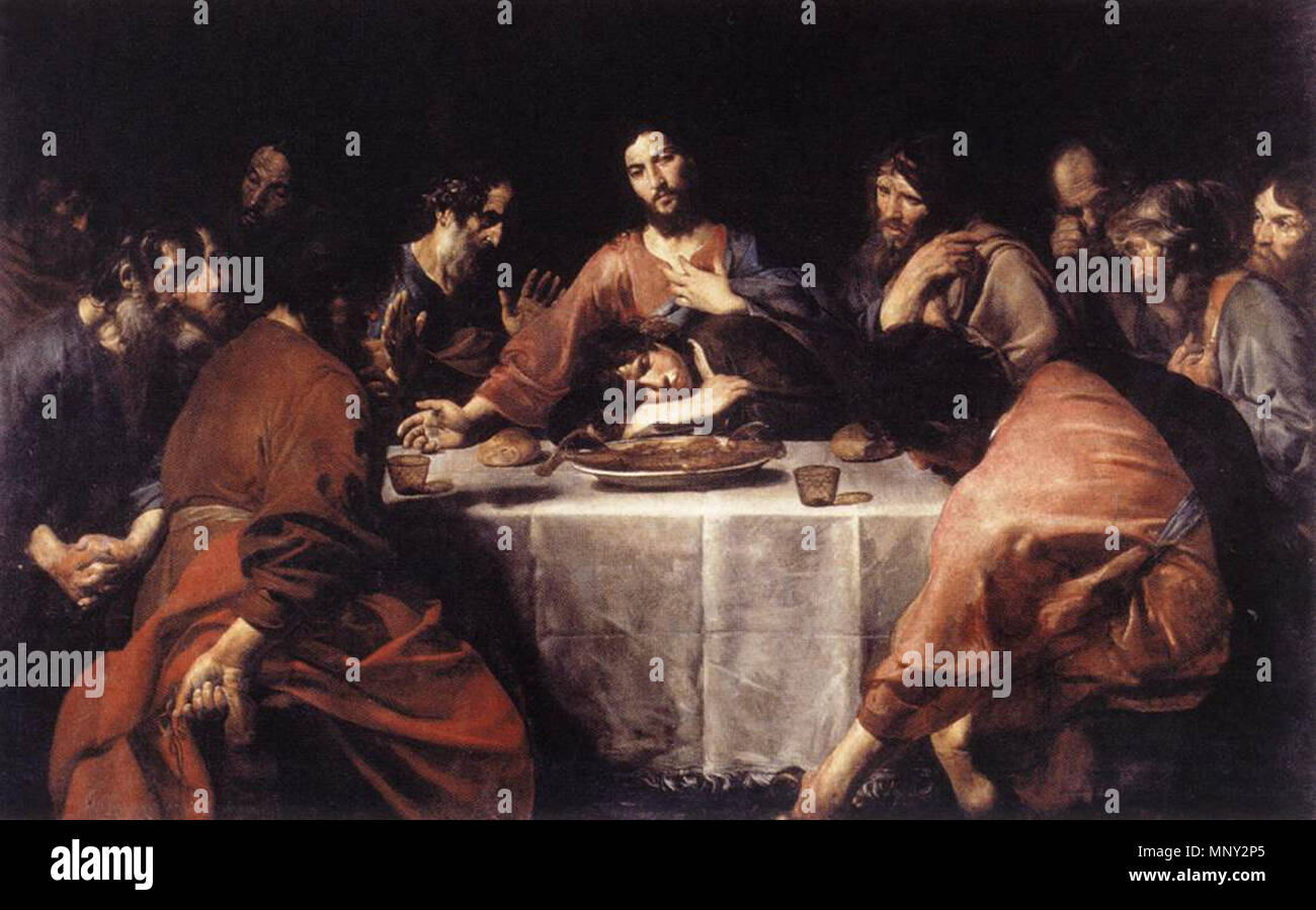 The Last Supper   between 1625 and 1626.   1218 Valentin de Boulogne - The Last Supper - WGA24244 - Stock Image