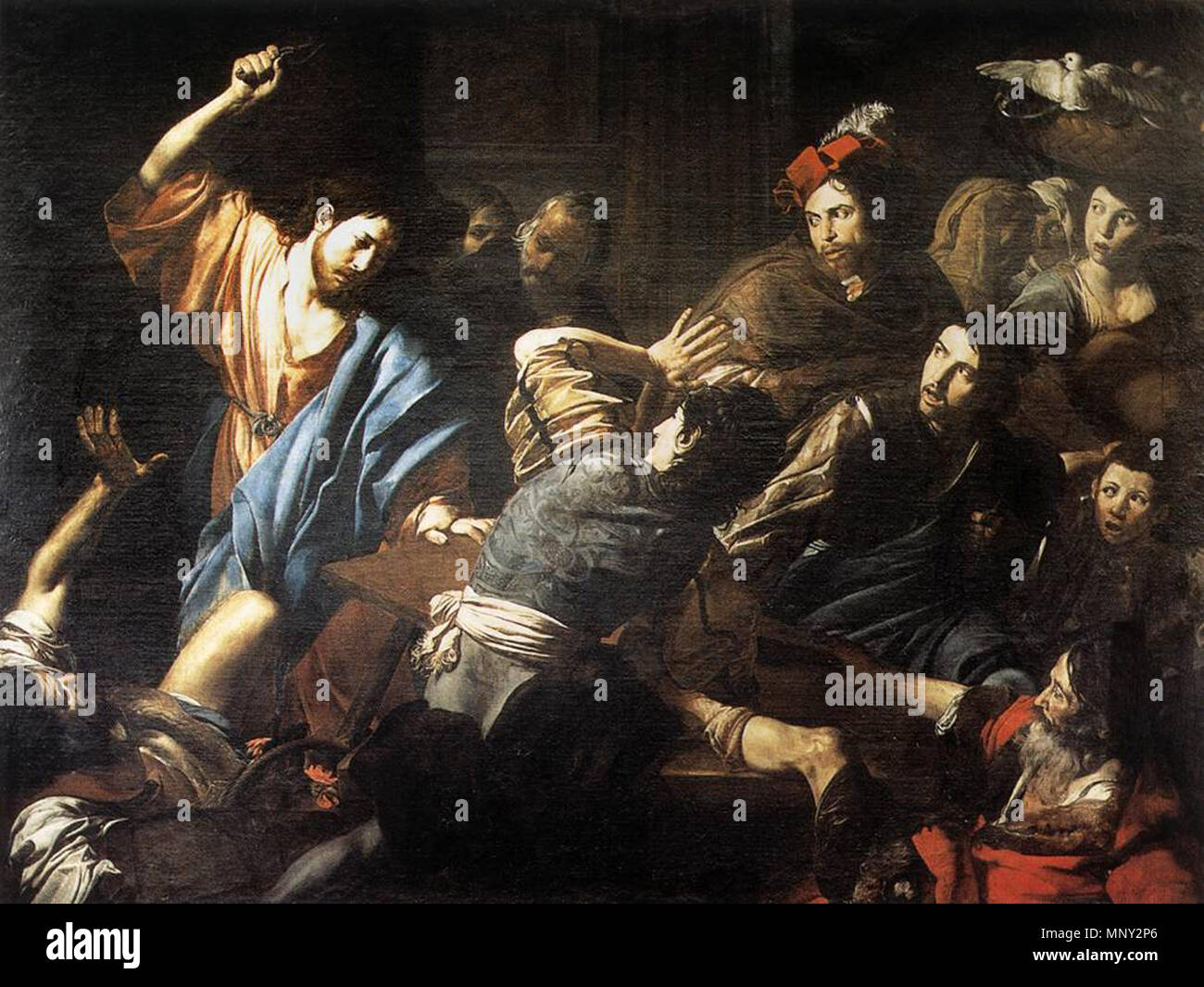 http://www.wga.hu/art/v/valentin/driving.jpg   Christ Driving the Money Changers out of the Temple   circa 1618.    Valentin de Boulogne (1591–1632)  Alternative names Jean Valentin Le Valentin  Description French painter  Date of birth/death 3 January 1591 (baptised) 20 August 1632 (buried)  Location of birth/death Coulommiers Rome  Work location Rome (1612-1632)  Authority control  : Q1337275 VIAF:120746211 ISNI:0000 0001 1580 793X ULAN:500021073 LCCN:no90018840 WGA:VALENTIN DE BOULOGNE WorldCat 1218 Valentin de Boulogne, Christ Driving the Money Changers out of the Temple - Stock Image