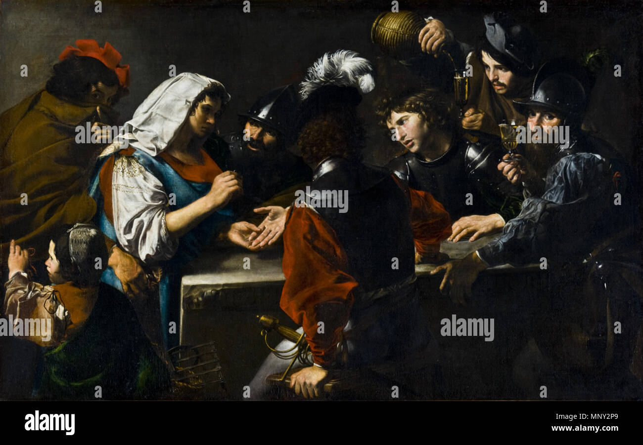 . 'The Fortune Teller', Oil on canvas, 150 x 239 cm Toledo Museum of Art, Toledo, Ohio . circa 1620.   Valentin de Boulogne (1591–1632)  Alternative names Jean Valentin Le Valentin  Description French painter  Date of birth/death 3 January 1591 (baptised) 20 August 1632 (buried)  Location of birth/death Coulommiers Rome  Work location Rome (1612-1632)  Authority control  : Q1337275 VIAF:120746211 ISNI:0000 0001 1580 793X ULAN:500021073 LCCN:no90018840 WGA:VALENTIN DE BOULOGNE WorldCat 1218 Valentin de Boulogne, Fortune Teller 02 - Stock Image