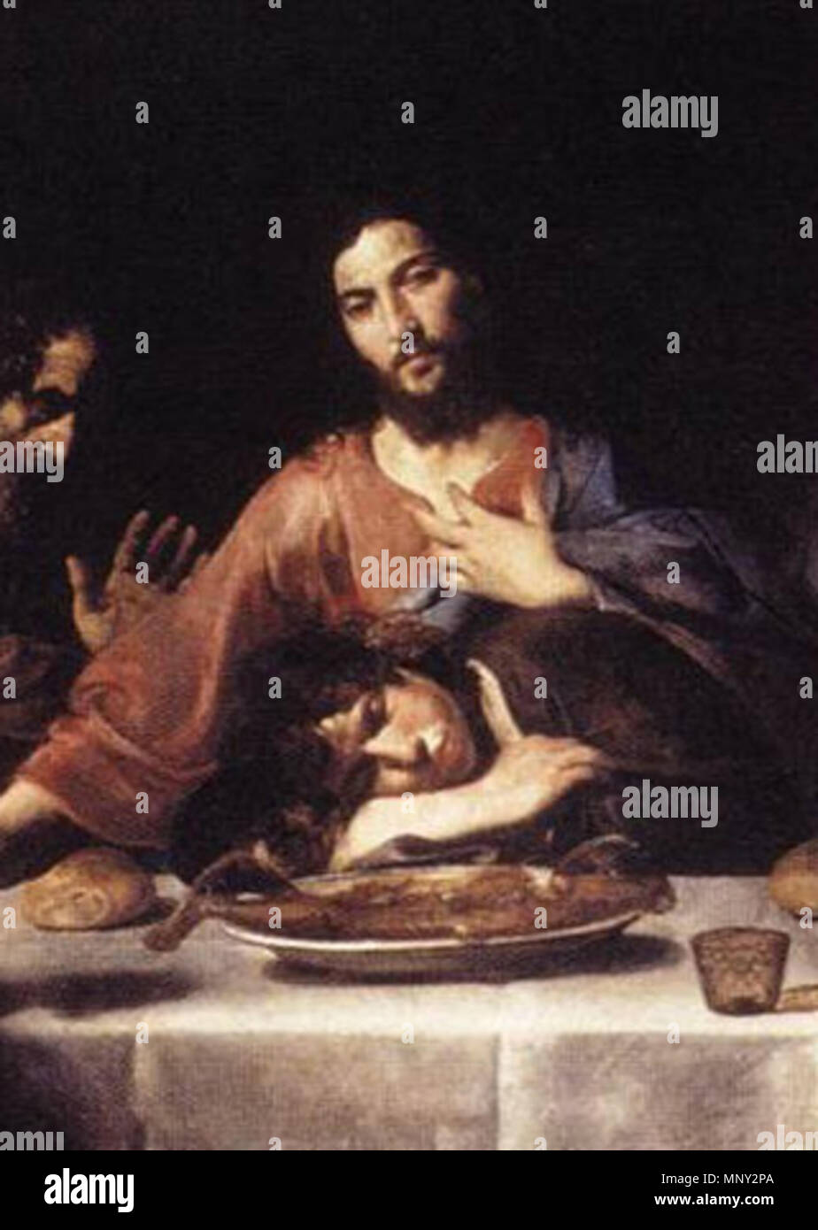 St. John and Jesus at the Last Supper   17th century.   1218 Valentin de boulogne, John and Jesus - Stock Image