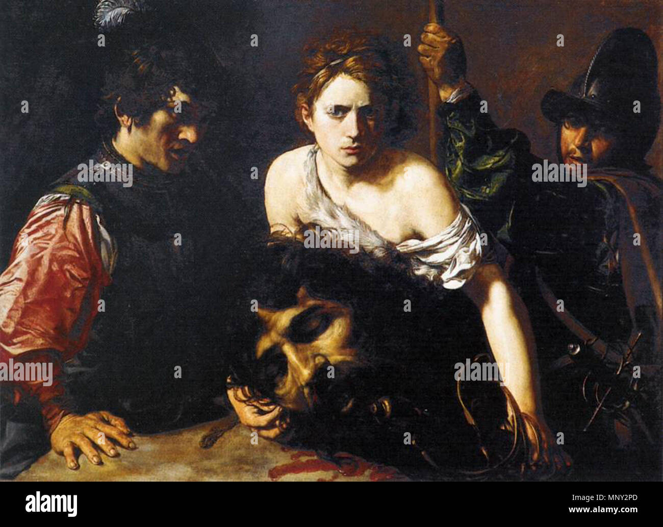 http://www.wga.hu/art/v/valentin/davidgol.jpg    . 'David with the Head of Goliath and Two Soldiers', Oil on canvas, 99 x 134 cm Museo Thyssen-Bornemisza, Madrid . between 1620 and 1622.   Valentin de Boulogne (1591–1632)  Alternative names Jean Valentin Le Valentin  Description French painter  Date of birth/death 3 January 1591 (baptised) 20 August 1632 (buried)  Location of birth/death Coulommiers Rome  Work location Rome (1612-1632)  Authority control  : Q1337275 VIAF:120746211 ISNI:0000 0001 1580 793X ULAN:500021073 LCCN:no90018840 WGA:VALENTIN DE BOULOGNE WorldCat 1218 Valentin de - Stock Image