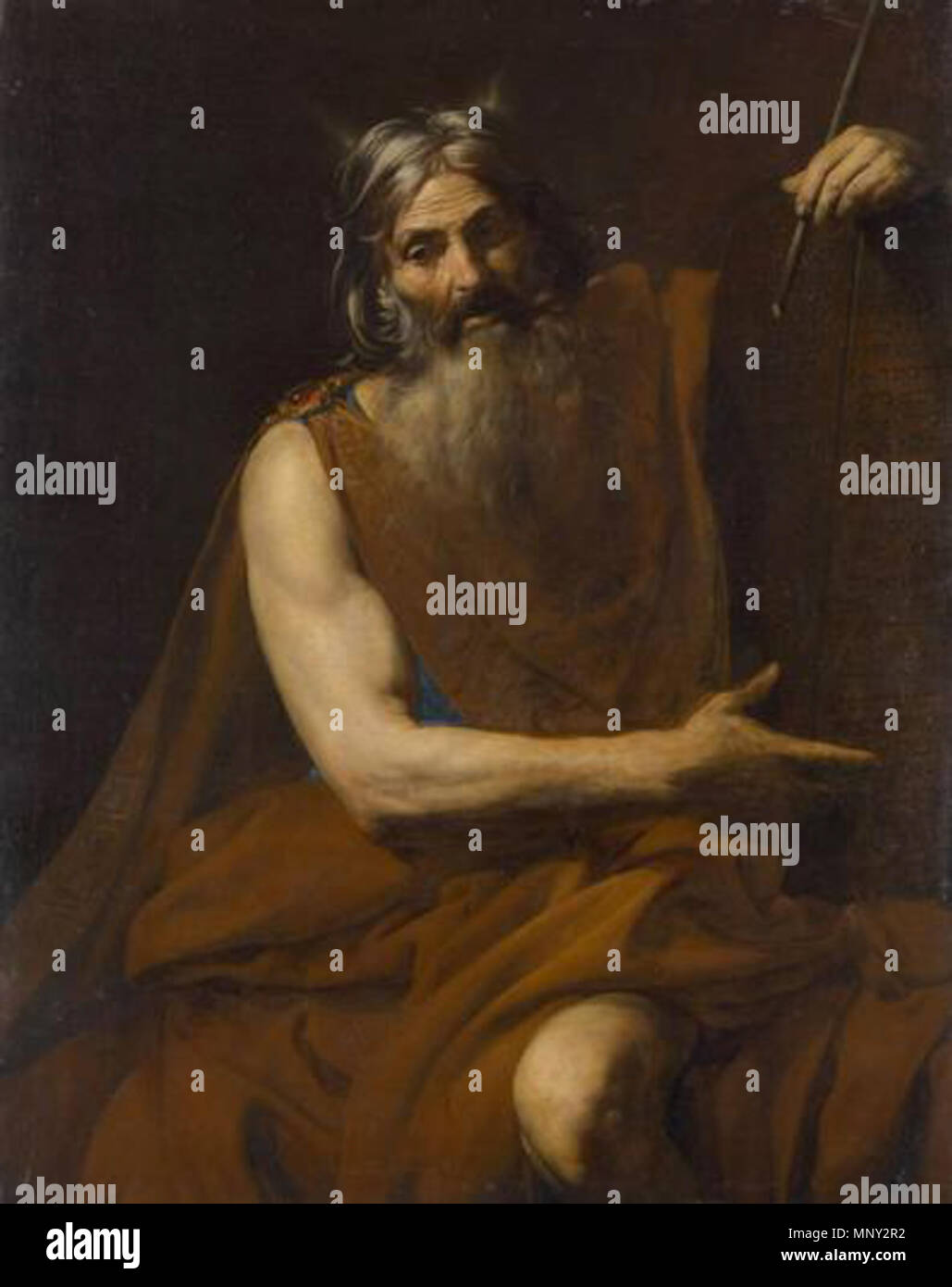 Horned Moses and the Tablets of the Law . Moses . circa 1627/1632.   1218 Valentin de Boulogne.Moses01 - Stock Image