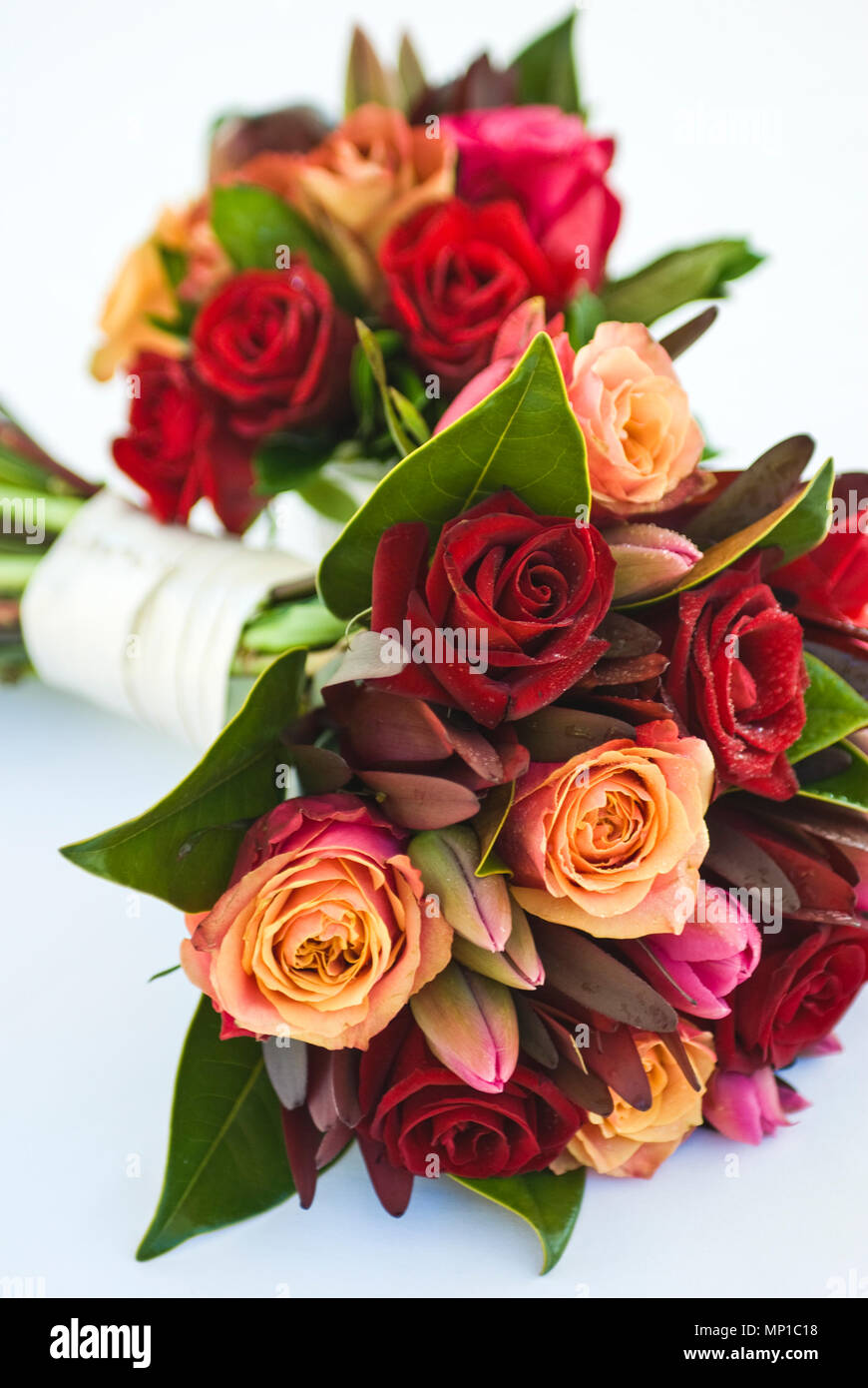 Yellow And Red Roses Centerpiece Orange Pink Colour Mix Color