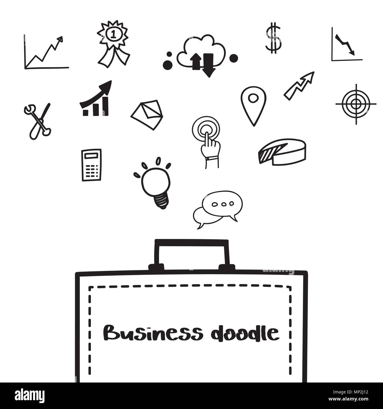 Business doodle icon design element template on white background ...