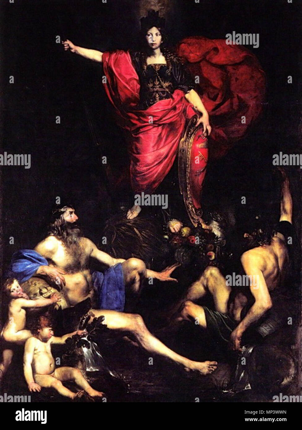 .  English: Allegory of Italy . between 1627 and 1628.   1218 Valentin de Boulogne, Allegory of Italy, c. 1628 - Stock Image
