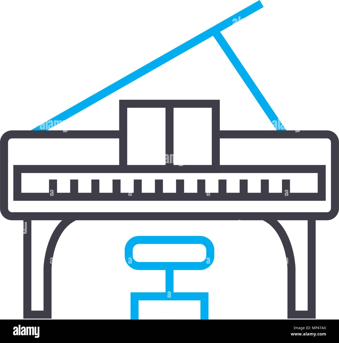 Playing The Piano Linear Icon Concept Playing The Piano Line Vector