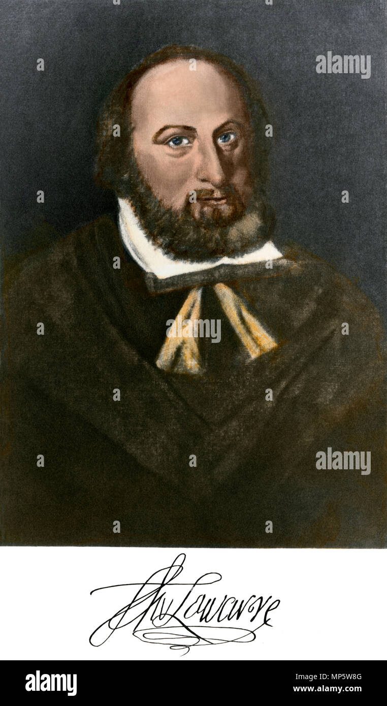 Thomas West, 12th Baron De La Warr (Lord Delaware), with autograph. Hand-colored photogravure of a painting - Stock Image