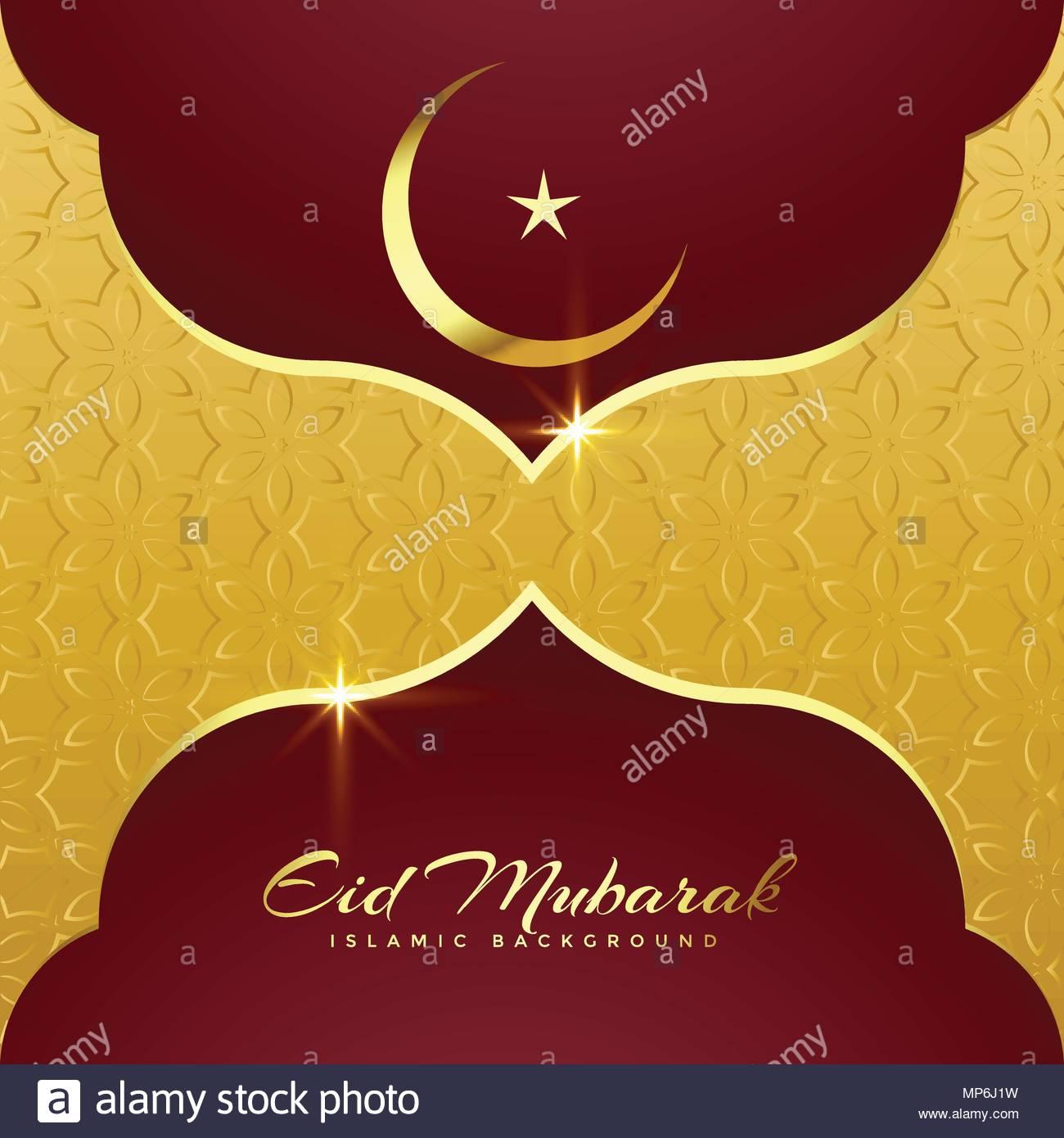 Premium Eid Mubarak Greeting Card Design Stock Vector Art