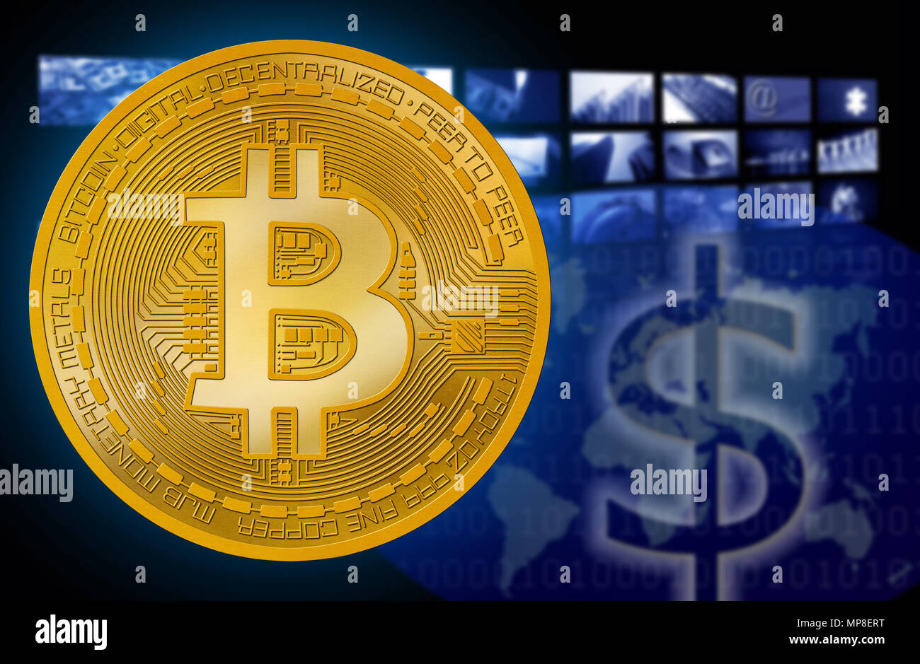 Bitcoin Btc Against Dollar Usd Symbol Cryptocurrency Background Of