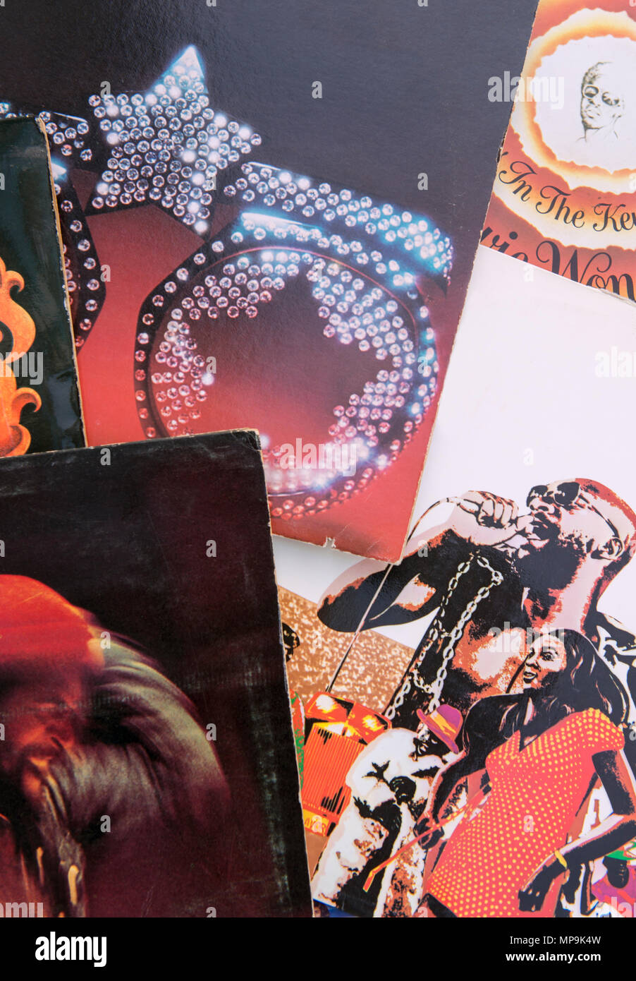 Covers of a selection of 1970s soul and funk albums - Stock Image