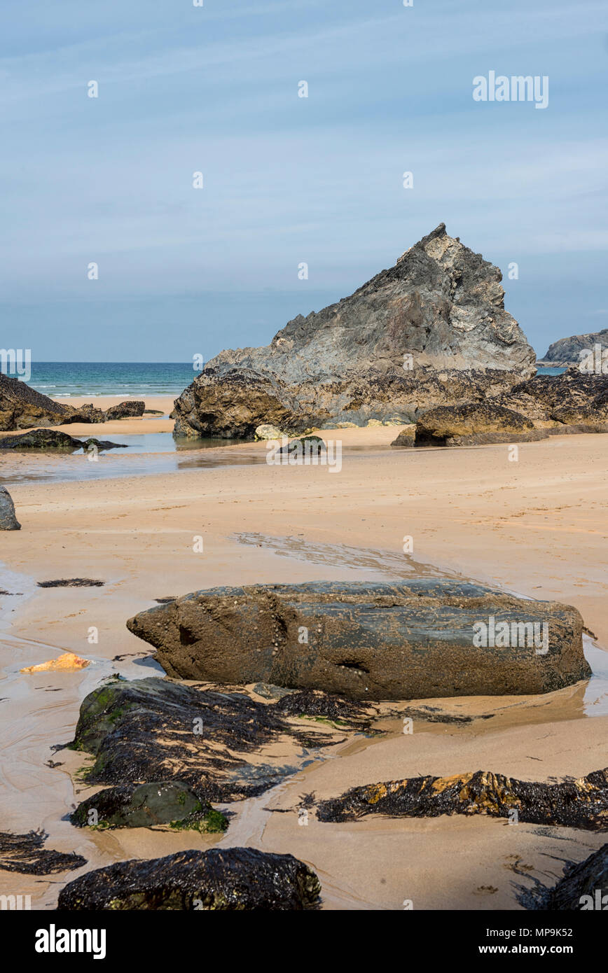 The beach at Bedruthan Steps in Cornwall, England, UK - Stock Image