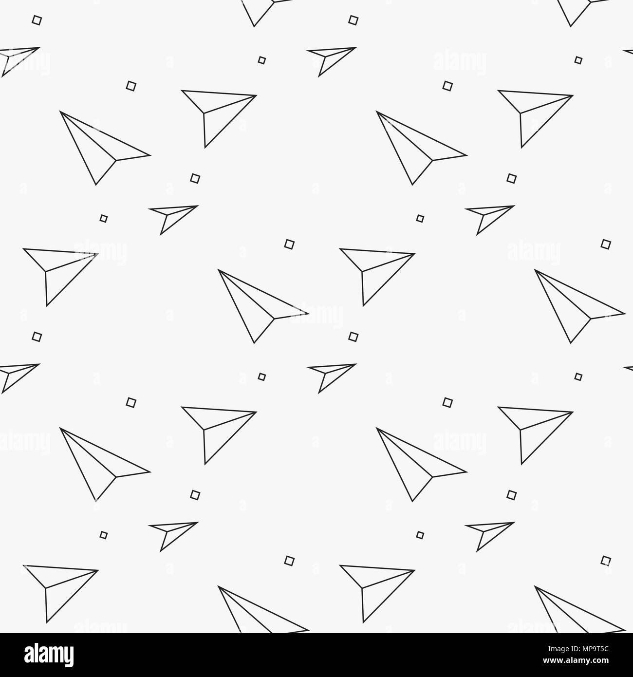 Seamless pattern with linear paper planes. Hand drawn background ...