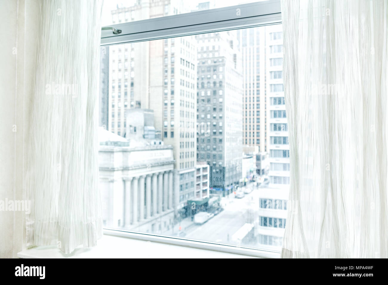 Window Blinds Curtains With View Looking At Midtown New York City NYC Cityscape Skyline In Manhattan Hotel Apartment Condo High Rise Building