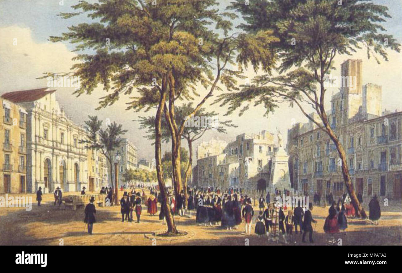Vale Real - Real Caja de Consolidación 1824 - 100 pesos English-rambla-and-teatre-principal-at-barcelona-ca-1830-circa-1830-scanned-by-myself-original-is-by-an-unknown-author-anonym-user-wrote-original-steel-engraving-drawn-by-h-bibby-engraved-by-a-h-payne-ca-1840-1029-principal-abans-MPATA3