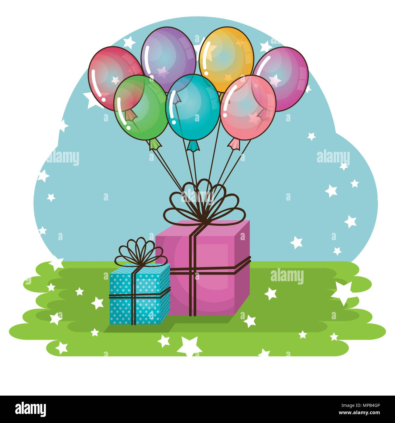 happy birthday card with gifts and balloons helium stock vector art