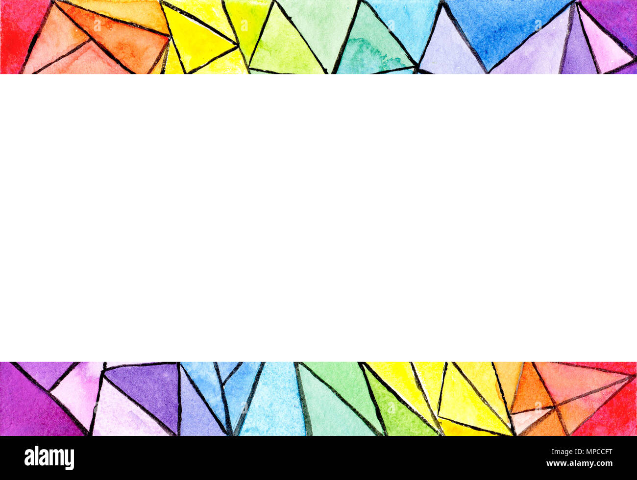 Geometric rainbow frame colorful abstract background with triangles ...