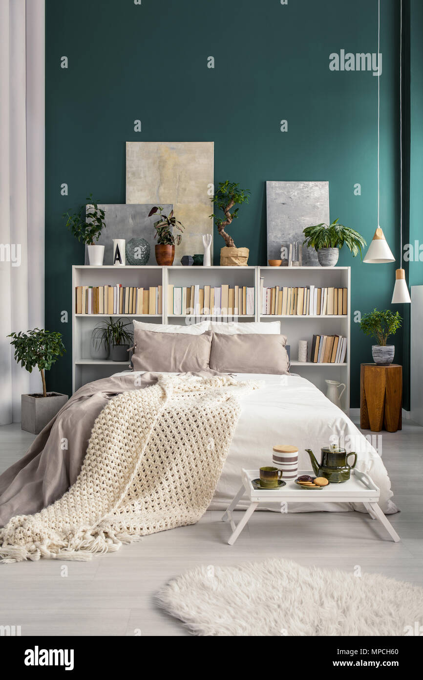 White Home Library With Gray Paintings And Plants In A Natural And Spacious  Bedroom Interior With Turquoise Green Wall