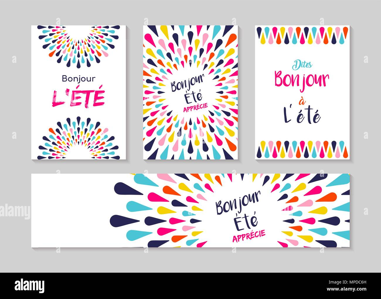 Hello summer greeting card set in french language enjoy vacation hello summer greeting card set in french language enjoy vacation with colorful decoration summertime party invitation or fun typography poster eps1 stopboris Images
