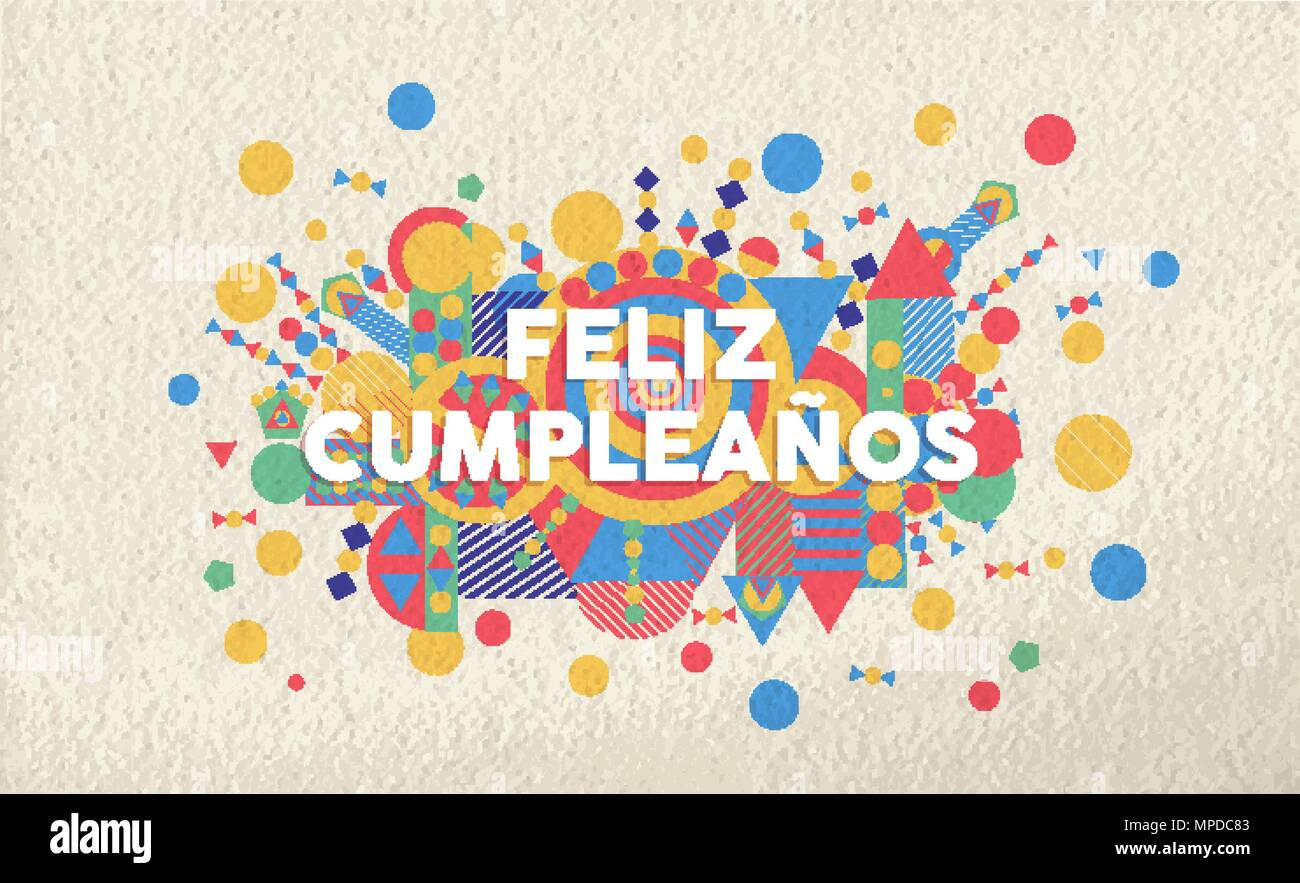 Happy birthday greeting card illustration in spanish language happy birthday greeting card illustration in spanish language special event typography art ideal for invitation or anniversary eps10 vector m4hsunfo
