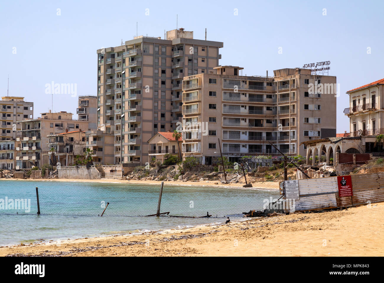 The abandoned southern quarter of the Cypriot city of Famagusta. Prior to the Turkish invasion of Cyprus in 1974, it was the modern tourist area of th - Stock Image