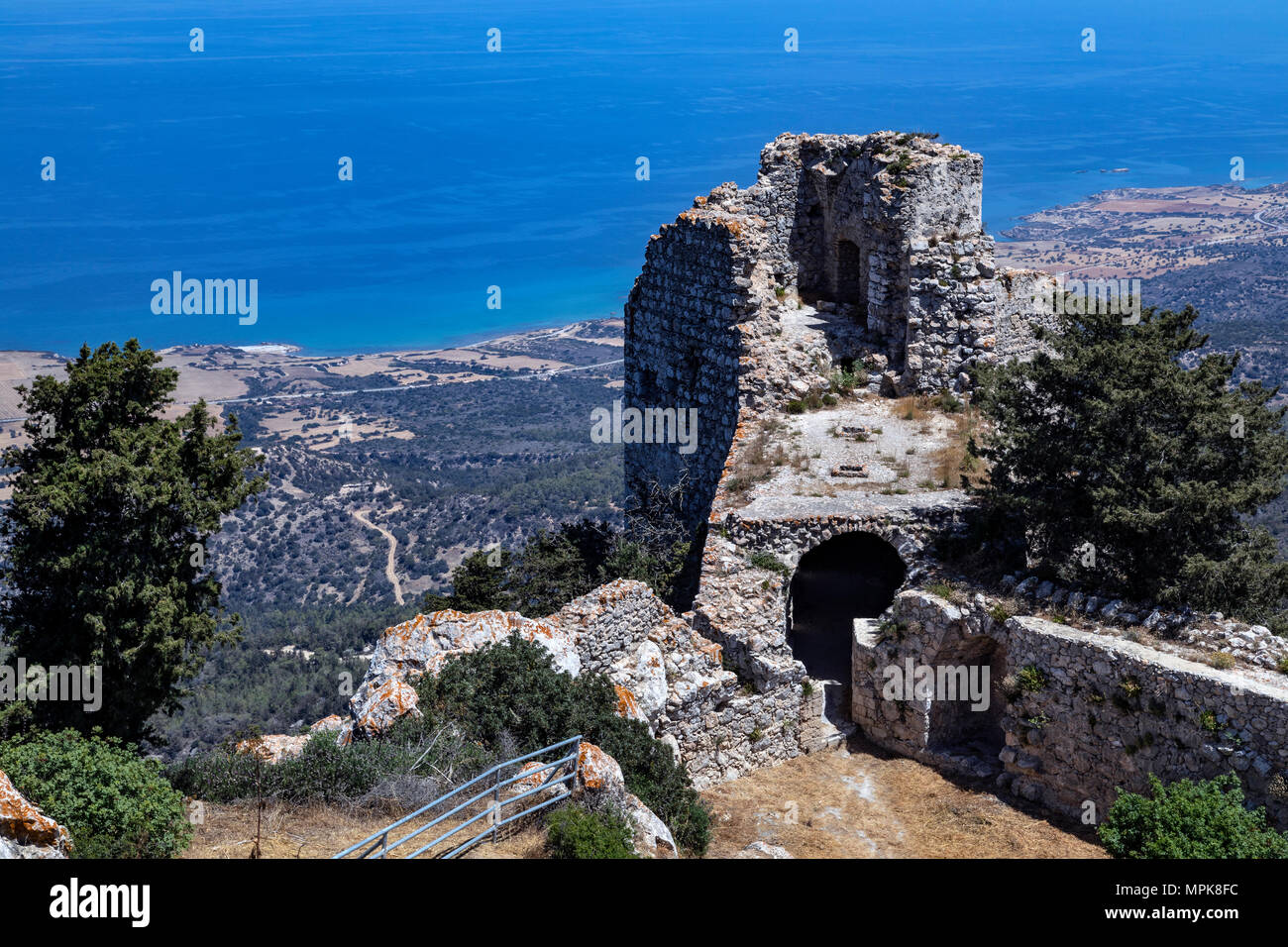 The ruins of Kantara Castle high in the mountains of Karpasia in the northeast of Cyprus in the TRNC (Turkish Republic of Northern Cyprus). - Stock Image