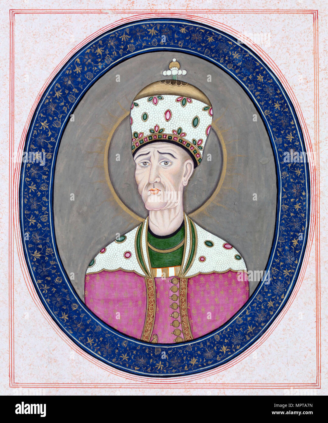 Portrait of Agha Mohammad Khan Qajar (1742-1797), Shah of Persia, c. 1840. - Stock Image