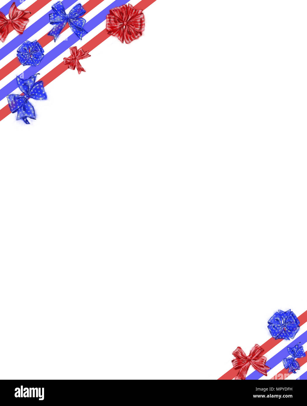 patriotic ribbons and bows template with text space isolated on