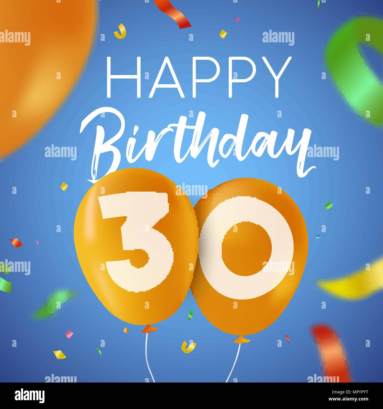 Happy Birthday 30 Thirty Years Fun Design With Balloon Number And