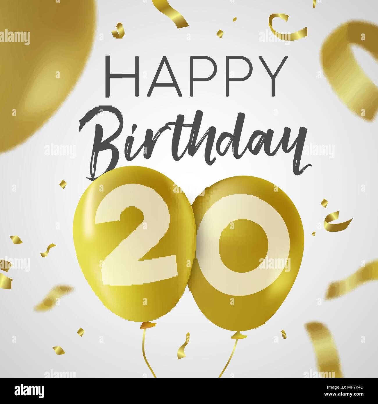 Happy Birthday 20 Twenty Years Luxury Design With Gold Balloon