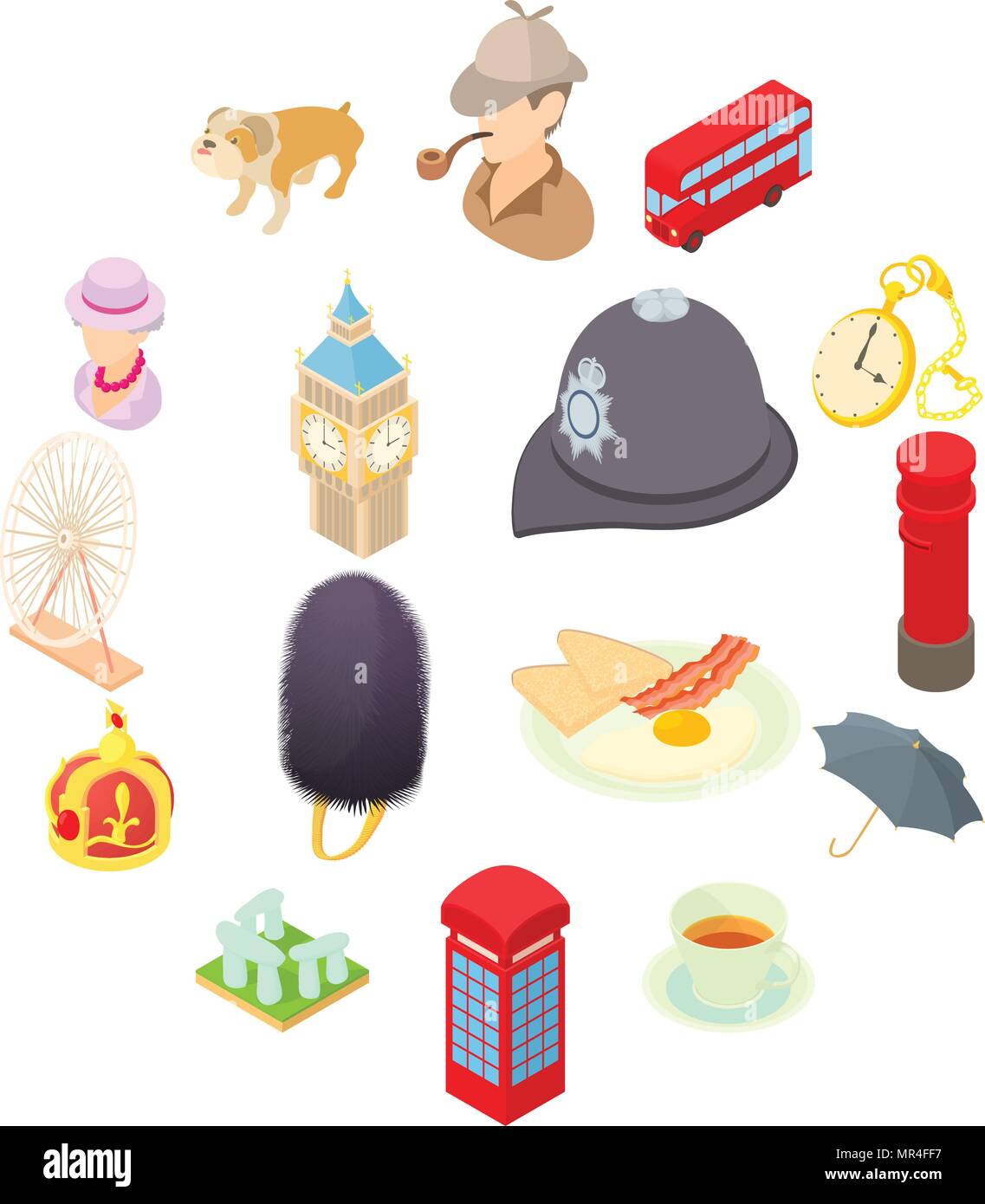 great britain icons set isometric 3d style stock vector art