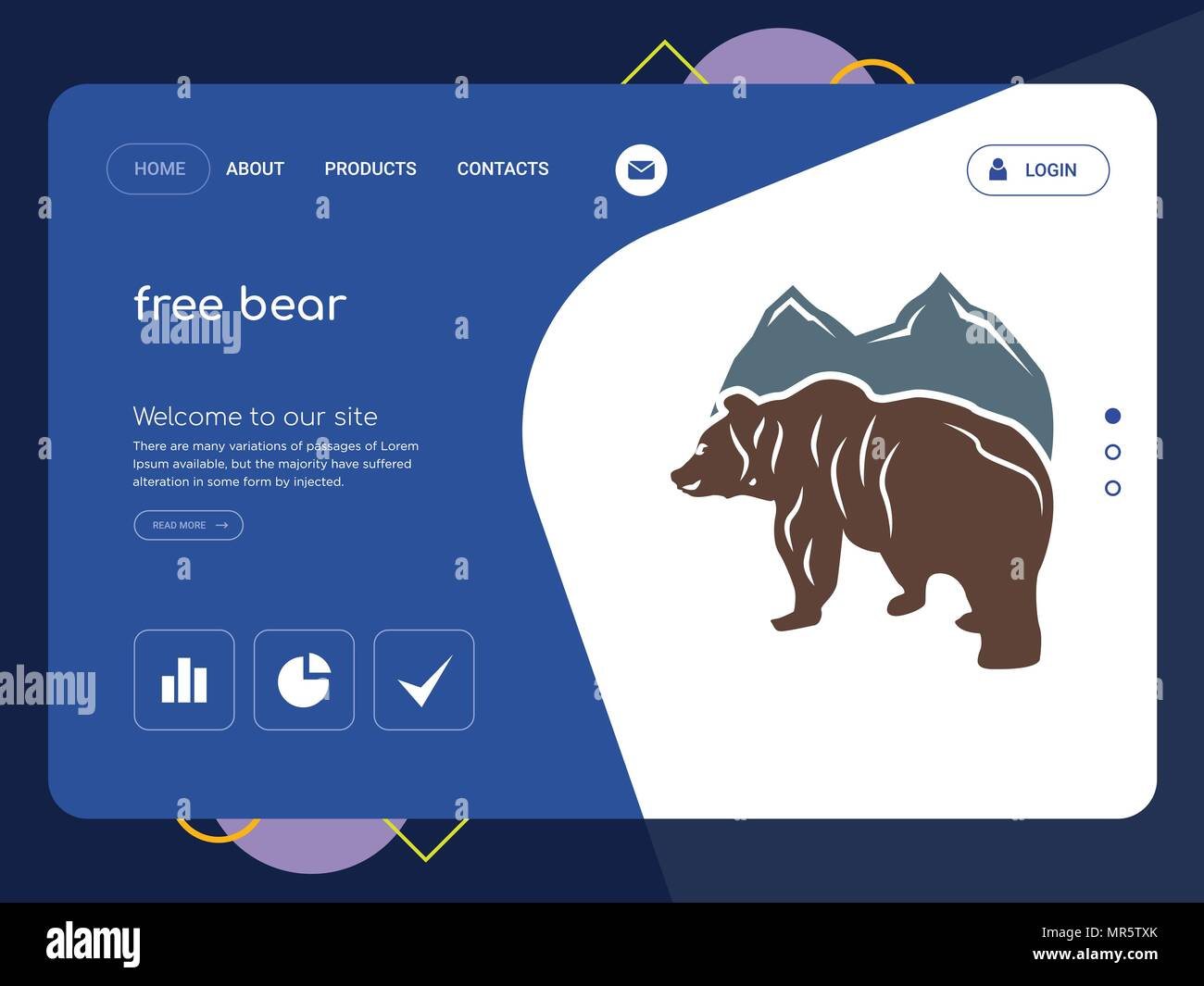 quality one page free bear website template vector eps modern web