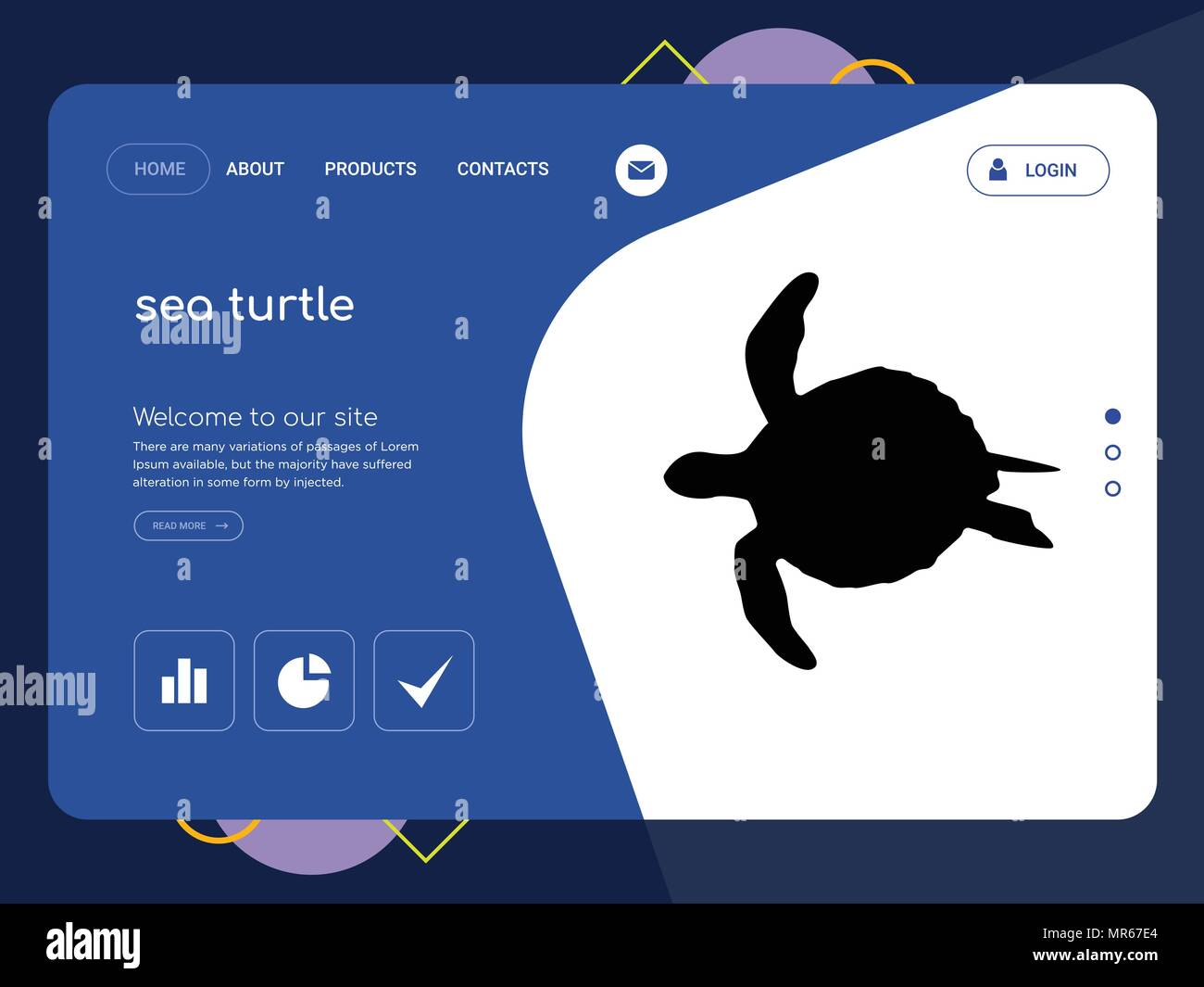 Quality One Page Sea Turtle Website Template Vector Eps Modern Web
