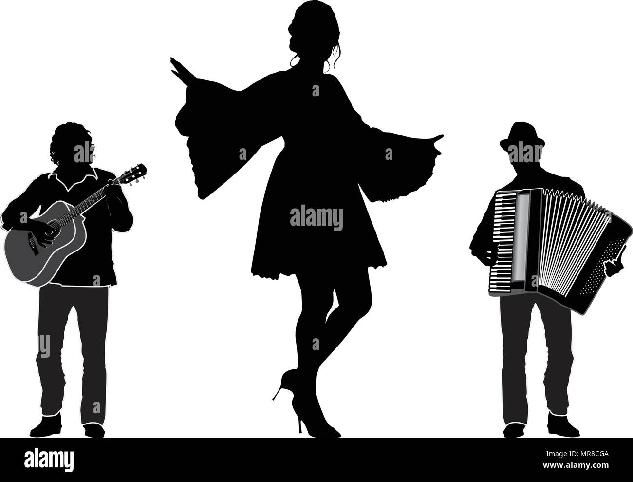 musicians and dancer trio vector silhouette isolated stock vector