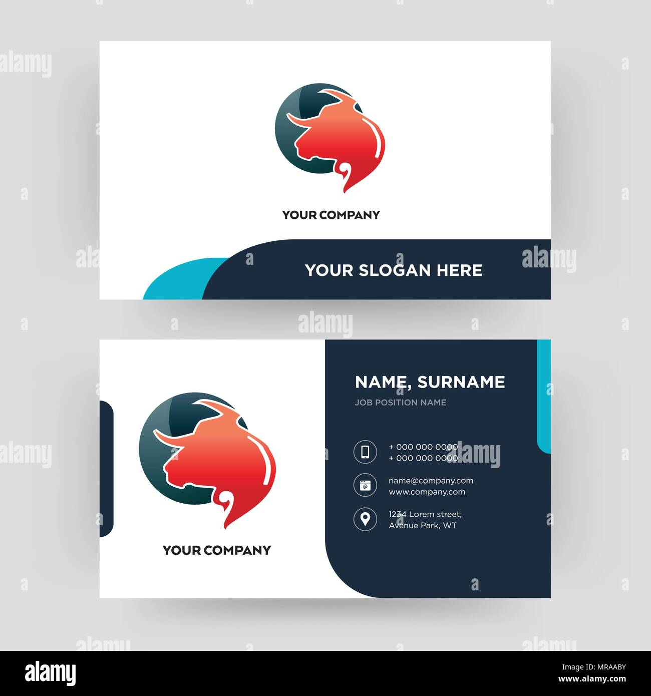 Taurus professional business card design template visiting for taurus professional business card design template visiting for your company modern creative and clean identity card vector wajeb Choice Image