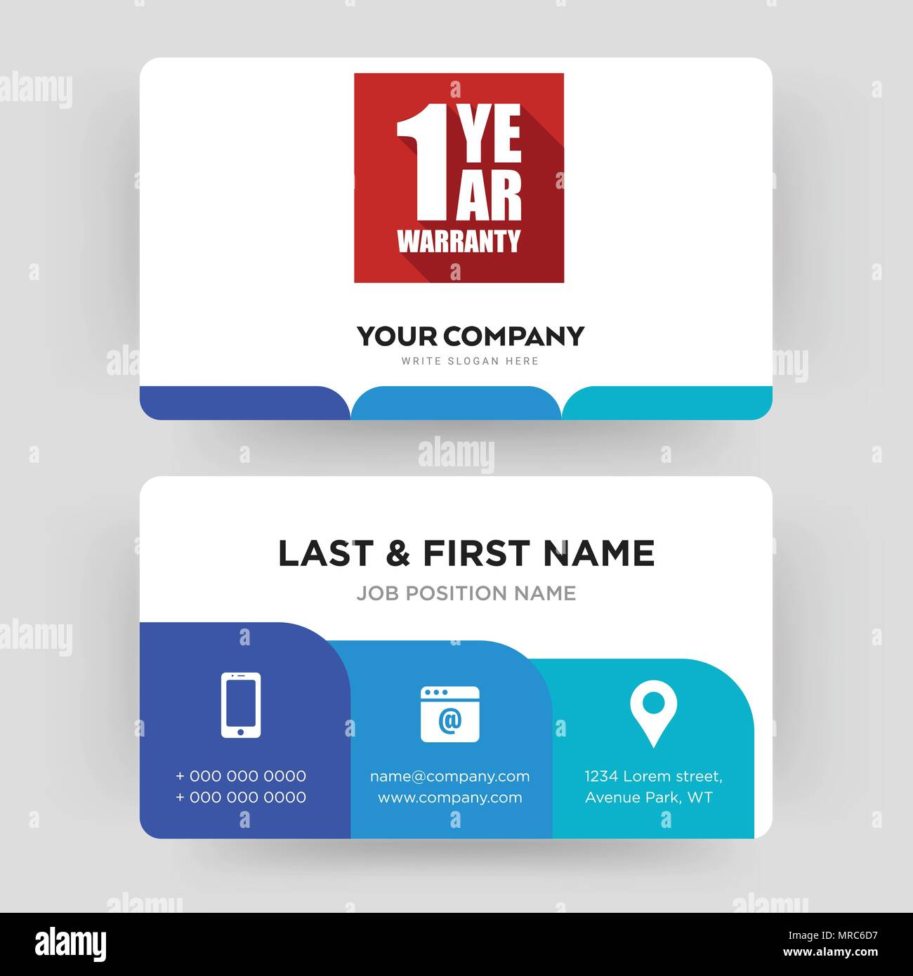 1 year warranty business card design template visiting for your